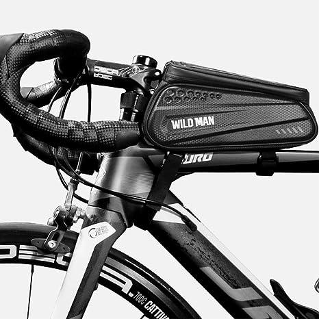 WILD MAN Bike Frame Bag, Bolsa Impermeable para Bicicleta con ...