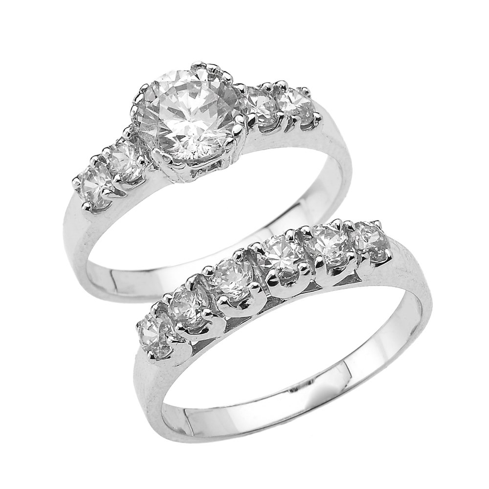 3.5 Carat Total Weight Round Cut CZ Engagement Wedding Ring Set in 10k White Gold (Size 5.25)