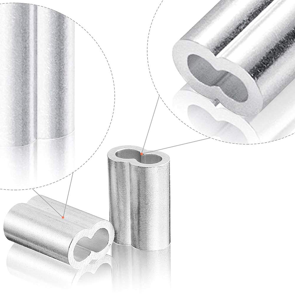 SamIdea 150-Pack 1//16 Cable Ferrule Aluminum Crimping Loop Sleeve for Wire Rope and Cable