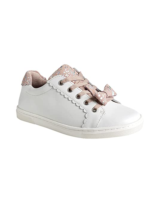 VERTBAUDET Zapatillas deportivas con cordones niña de piel BLANCO CLARO LISO 38