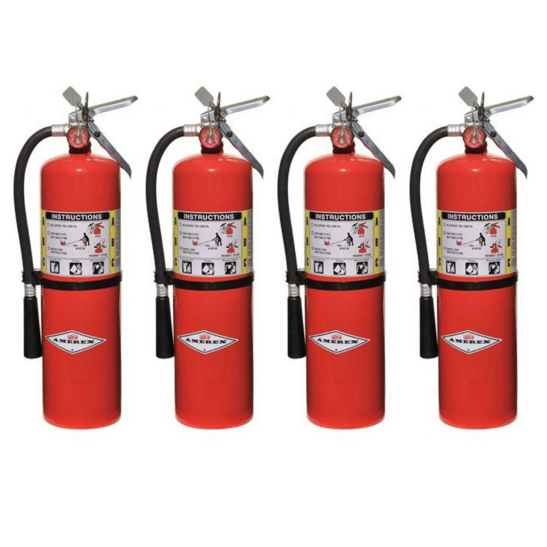 Amerex 10 Pound Stored Pressure ABC Dry Chemical 4A 80B C Steel Multi-Purpose Fire Extinguisher For Class A, B And C Fires With Anodized Aluminum Valve, Wall Bracket, Hose And Nozzle