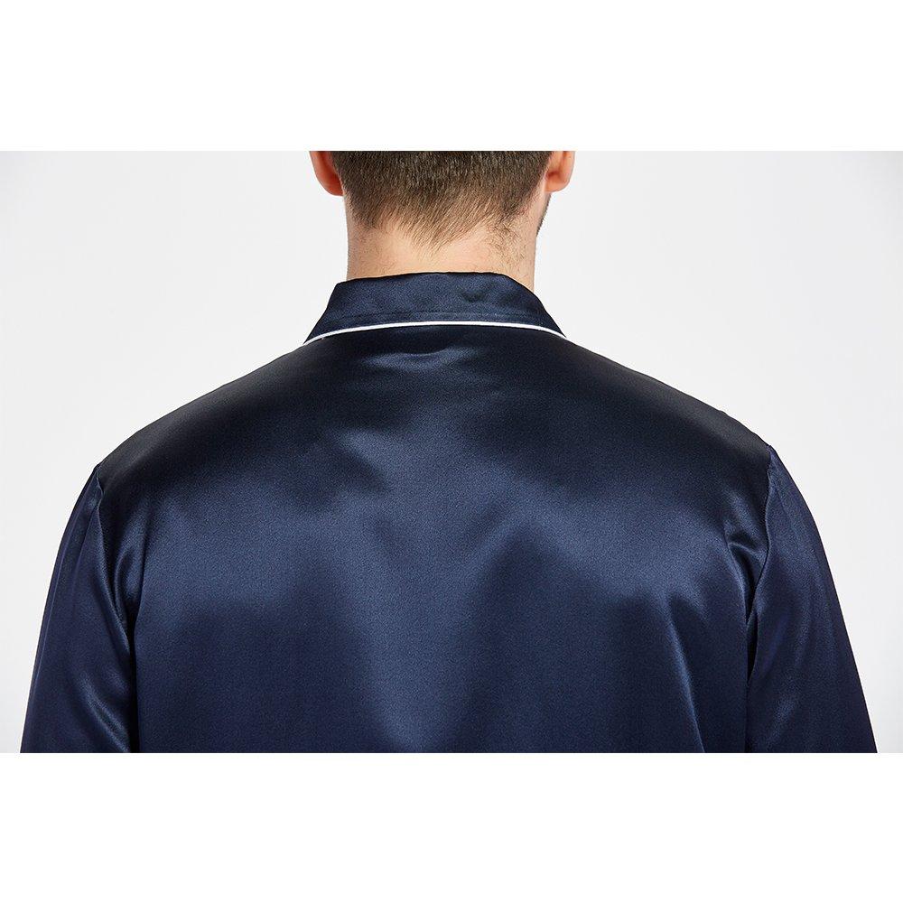 LilySilk Silk Pajamas Set For Men Summer 22 Momme Most Comfortable Sleepwear Navy Blue L by LilySilk (Image #7)