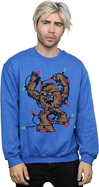 Star Wars Hombre Chewbacca Christmas Fairy Lights Camisa De Entrenamiento X-Large Azul Real: Amazon.es: Ropa y accesorios