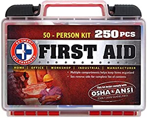 """""""Be Smart Get Prepared 250 Piece First Aid Kit, Exceeds OSHA ANSI Standards for 50 People - Office, Home, Car, School, Emergency, Survival, Camping, Hunting, and Sports """""""