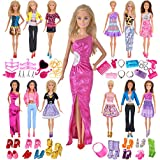 Ebuddy Total 55pc/Set Princess Ramdon Style Dress Accessories Shoes Mini Doll Clothes For Barbie Doll