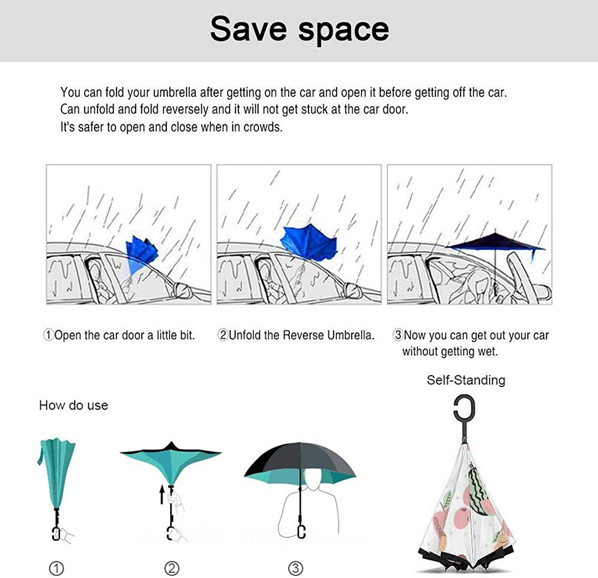 Cute With Exotic Fruits Cartoon Vector Image Reverse Umbrella Double Layer Inverted Umbrellas For Car Rain Outdoor With C-Shaped Handle Personalized