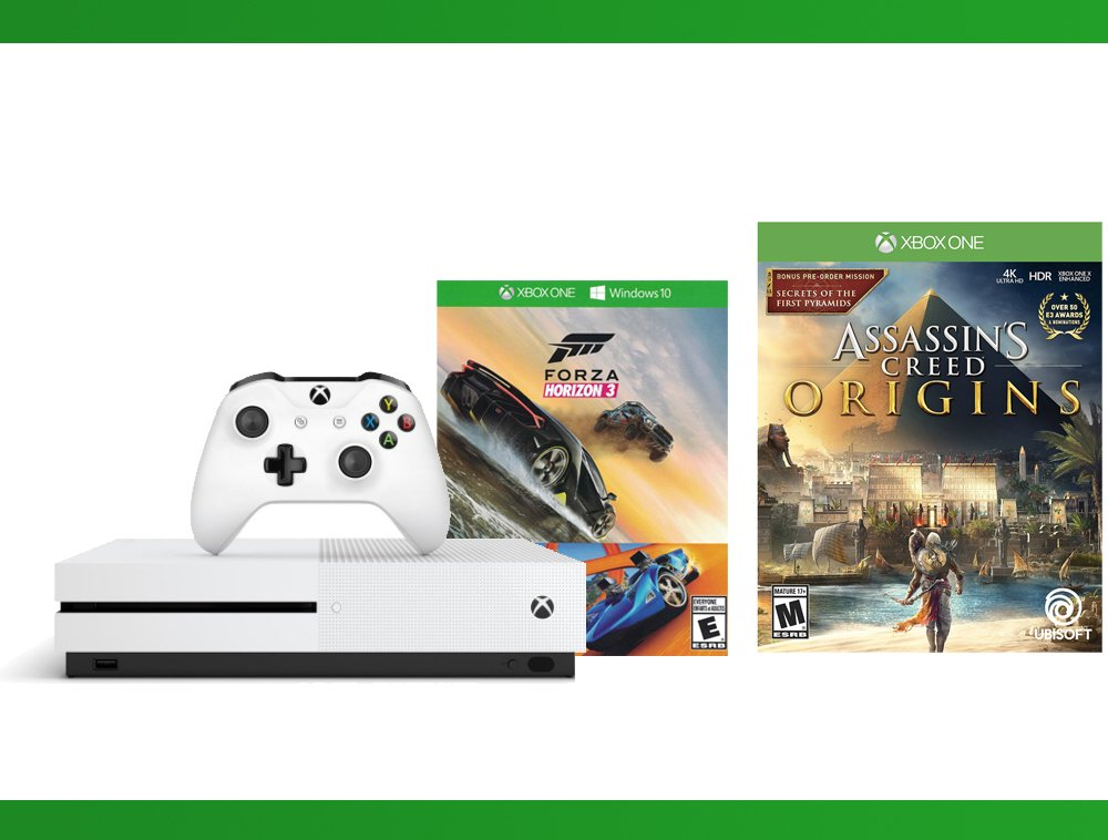 Xbox One S 500GB Console - Forza Horizon 3 Hot Wheels Console Bundle + Assassin's Creed Origins + NBA 2K17 Bundle ( 3 - Items)