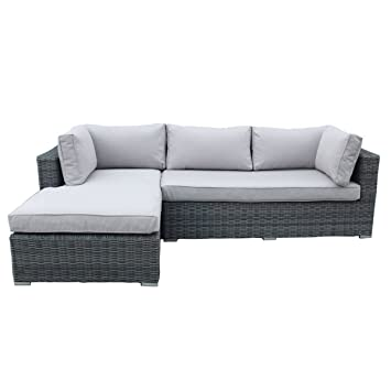 charles bentley garden deluxe rattan l shape sofa showerproof with removable cushions