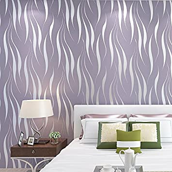 KINLO® Vliestapete 3D 50x0.53m Tapete Lila Barock Wandtatoo Elegant 3d  Option Tapete Wand