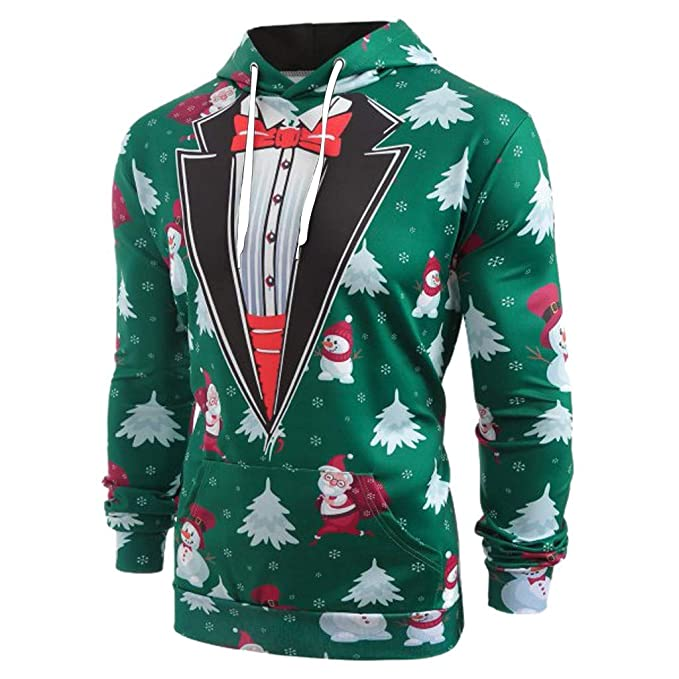 Amazon.com: Mens Hoodies - Men Christmas Suit 3D Gentleman ...
