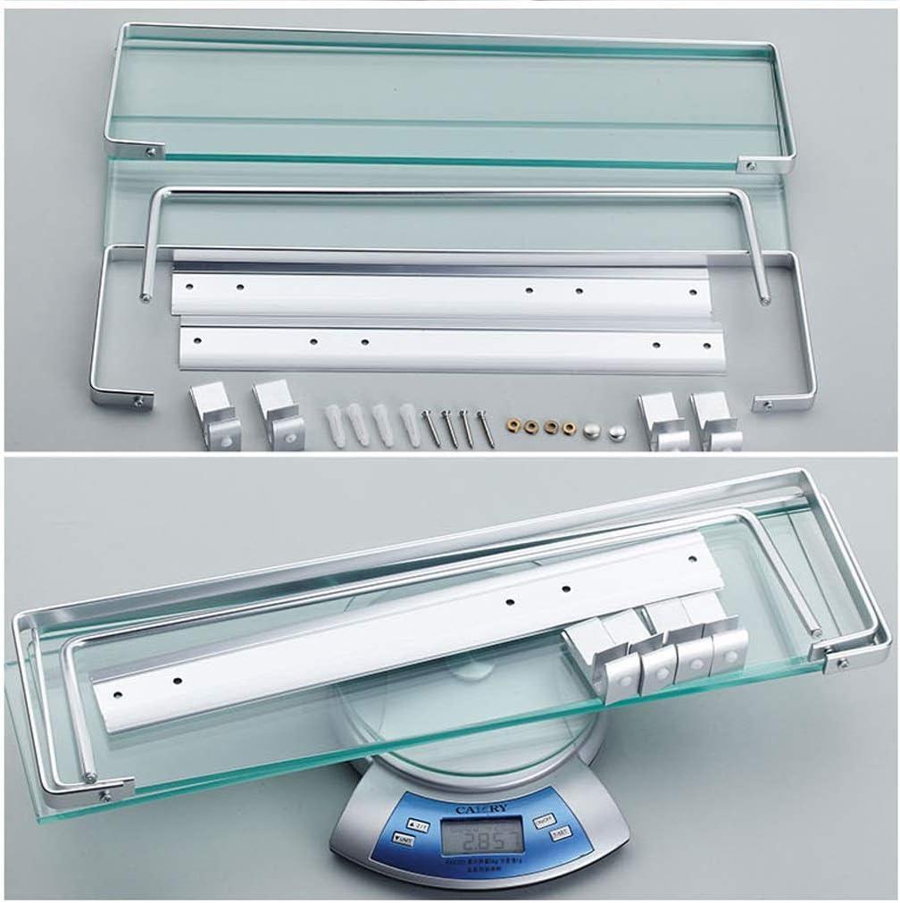 Color : A, Size : 40cm TH-SHELF Mensola for Bagno in Vetro Temperato Rettangolare in Alluminio A 2 Piani con Spazio Extra Spesso Montato A Parete