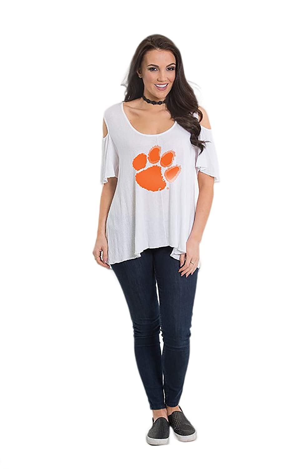 8b66a71a3 Amazon.com : Flying Colors Women's NCAA Clemson Tigers - Cold Shoulder Flowy  Tee with a High Low Hem - White : Sports & Outdoors