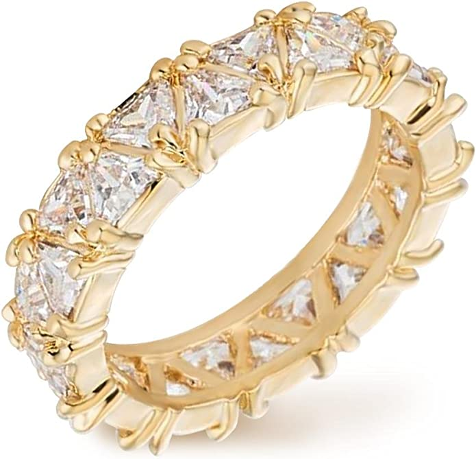 4 mm 5.9 TCW Trillion CZ Stackable Cocktail Anniversary Eternity Band Ring 5-10