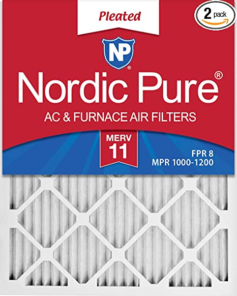 Nordic Pure 16x18x1 Exact MERV 11 Pleated AC Furnace Air Filters 3 Pack