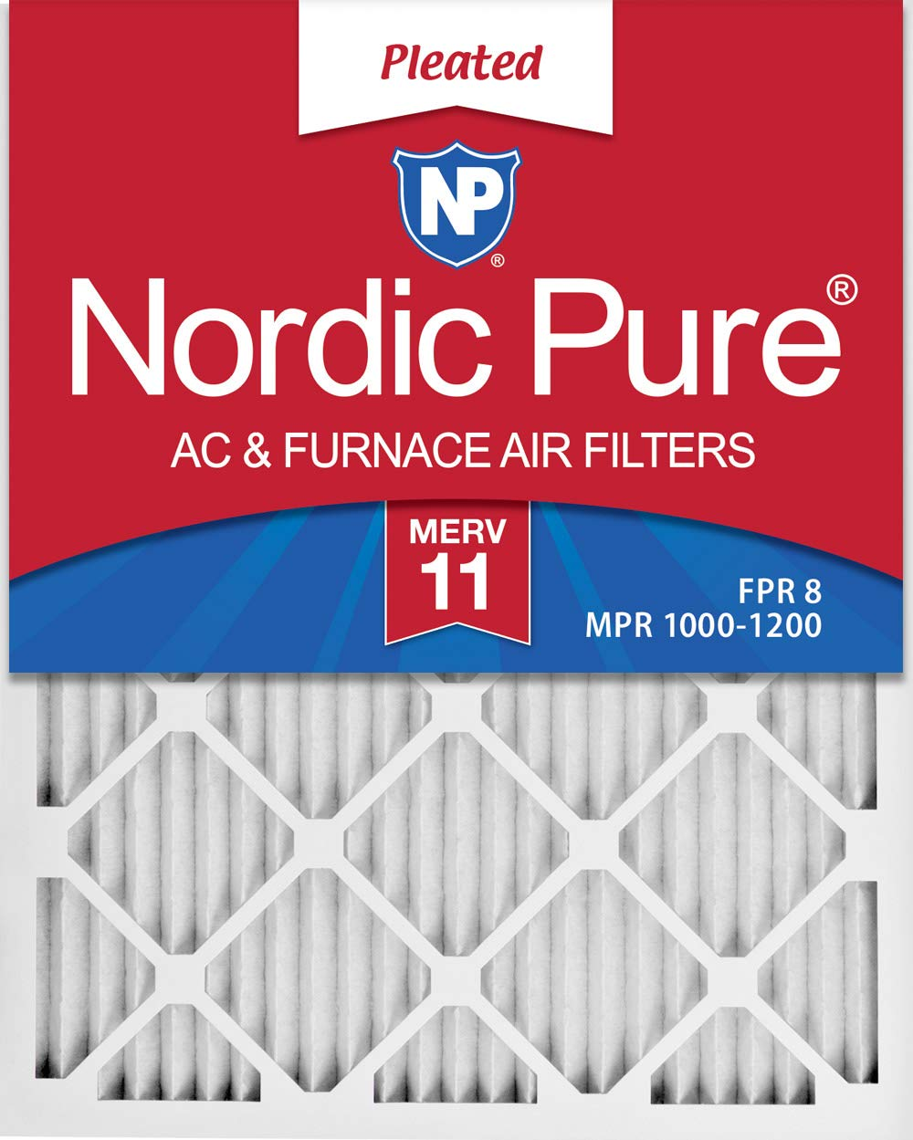 Nordic Pure 19x22x1 Exact MERV 11 Pleated AC Furnace Air Filters 3 Pack,