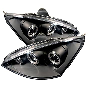[For 2000-2004 Ford Focus] LED Halo Ring Black Projector Headlight Headlamp Assembly