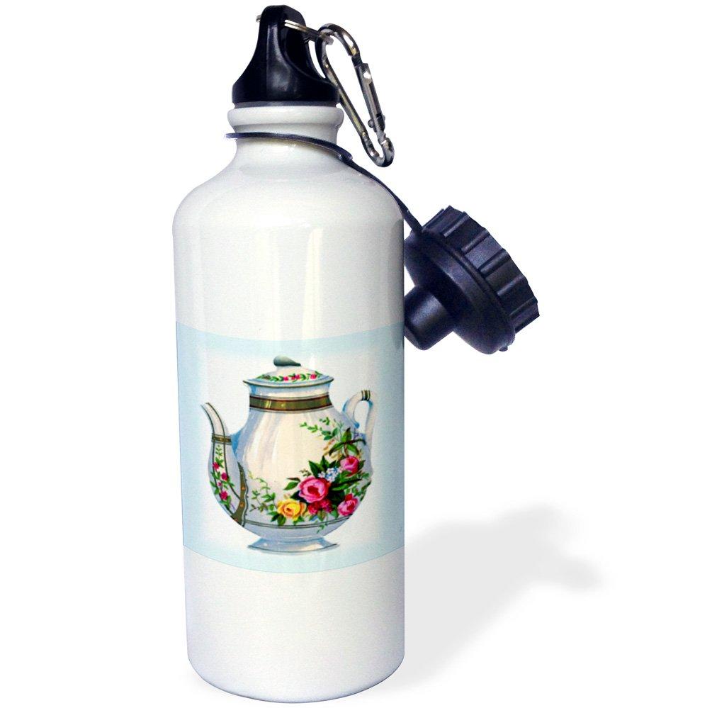 White 3dRose wb/_43813/_2Victorian Floral Teapot Flip Straw Water Bottle 21 oz