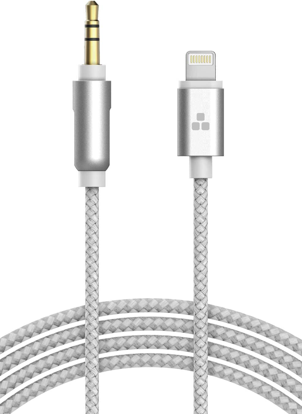 (Apple MFI Certified) iPhone Aux Lightning Cord to Male 3.5mm Auxiliary Cable (iPhone Audio Link to Car Jack, Headphones & Speakers) (White)