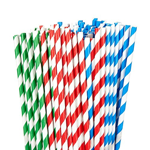 Price comparison product image 150 Pack Paper Straws - Biodegradable Straws Red,  Blue,  and Green Striped Design Bulk Drinking Straws