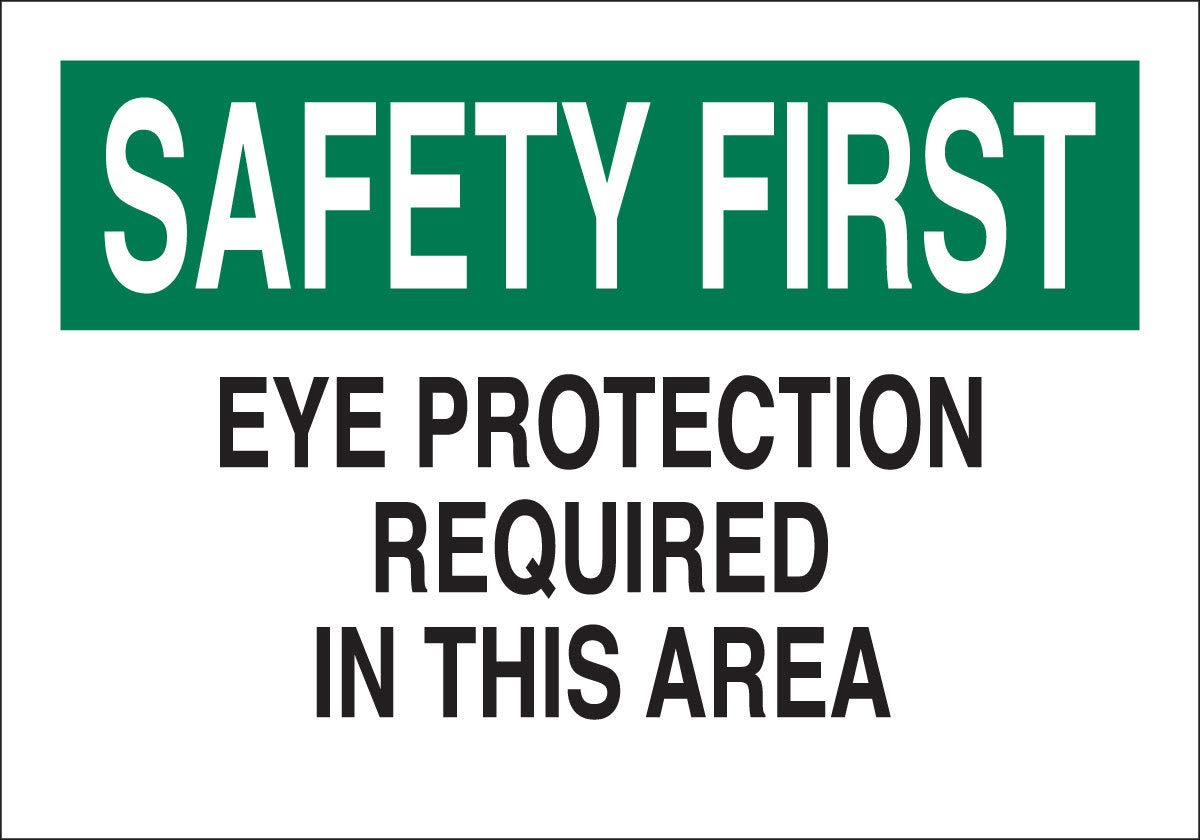 Brady 10'' X 14'' X .06'' Black/Green On White .0591'' B-401 Polystyrene Office And Facility Sign''EYE PROTECTION REQUIRED IN THIS AREA'' by Brady USA