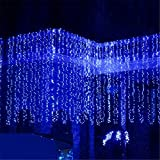 AGPtEK [UPDATE VERSION] 9.8ft 300 LED Weatherproof Freeze-proof Outdoor String Light Curtain Light for Christmas Xmas Wedding Party Home Decoration - Blue