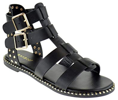 aaad5c0d123c BAMBOO Minimal 58 Womens Open Toe Dual Buckle Studded Flat Caged Gladiator  Sandals Black 6