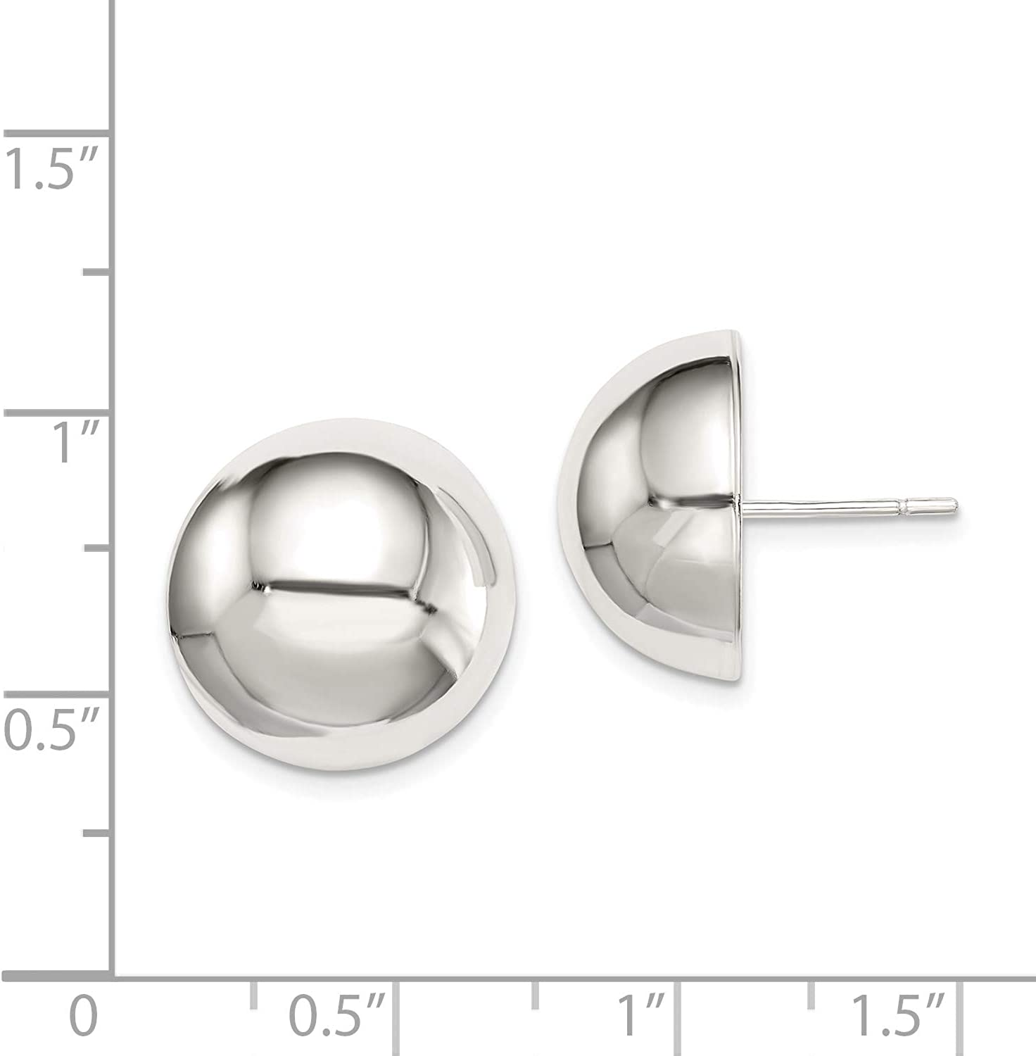 Sterling Silver 16mm Half Ball Earrings and a pair of 4mm CZ Stud Earrings