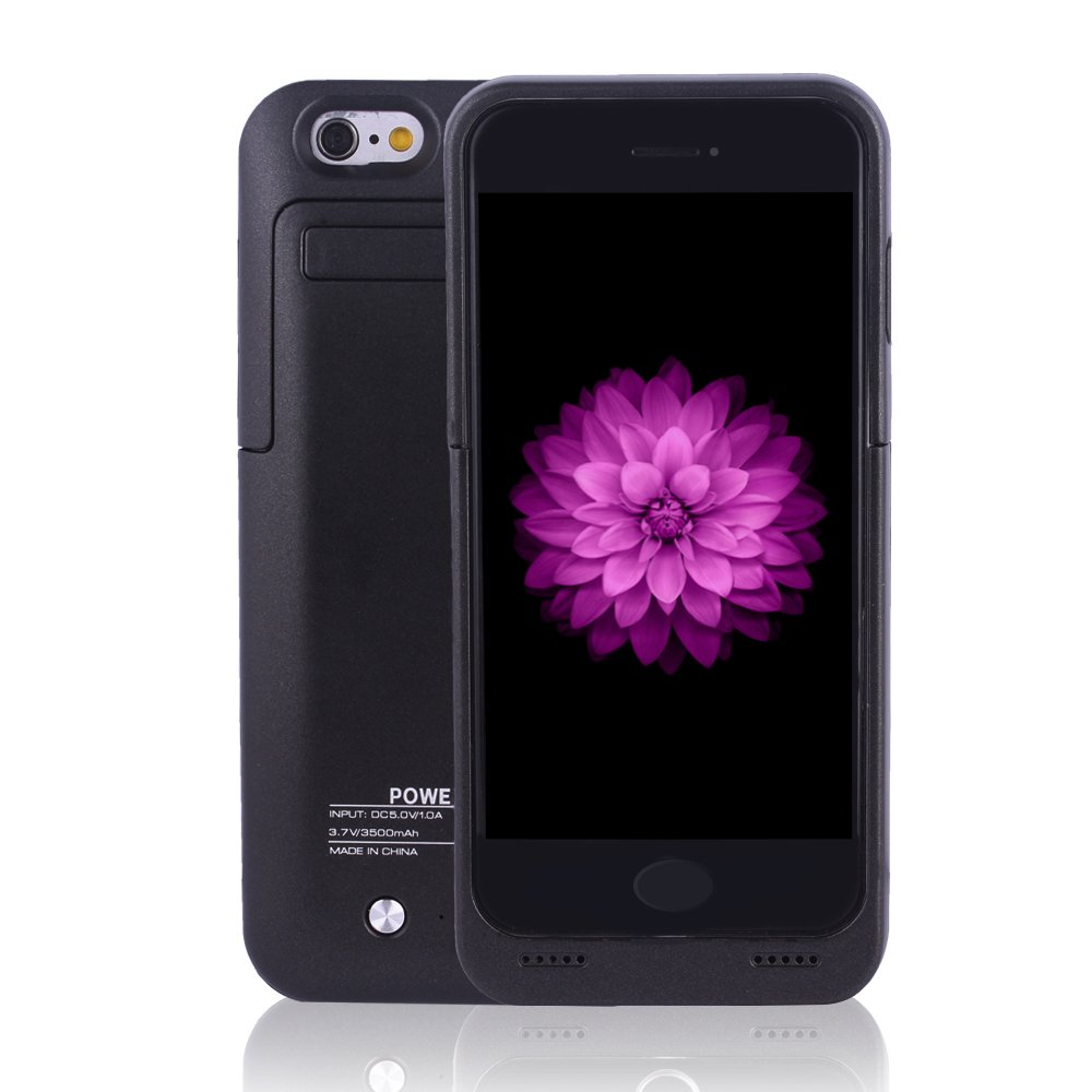 BSWHW PowerCase-IP7-BK-03 for iPhone 6/6s/7 Charger Case, Portable Battery Case with Pop-Out Kickstand Extended Battery Pack, Power Protection Case Backup Juice Bank, Indigi 3500 mAh - Deep Black