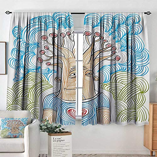 Mozenou Tree of Life Thermal Insulating Blackout Curtain Weird Hand Drawn Picture of Man as Nature Symbol with Wavy Patterns for Planet Kid Blackout Curtains 72