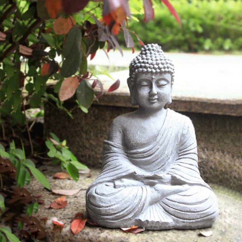 zenggp Garden Ornament Sitting Buddha Stone Effect Zen Outdoor Indoor Statue Home Decor