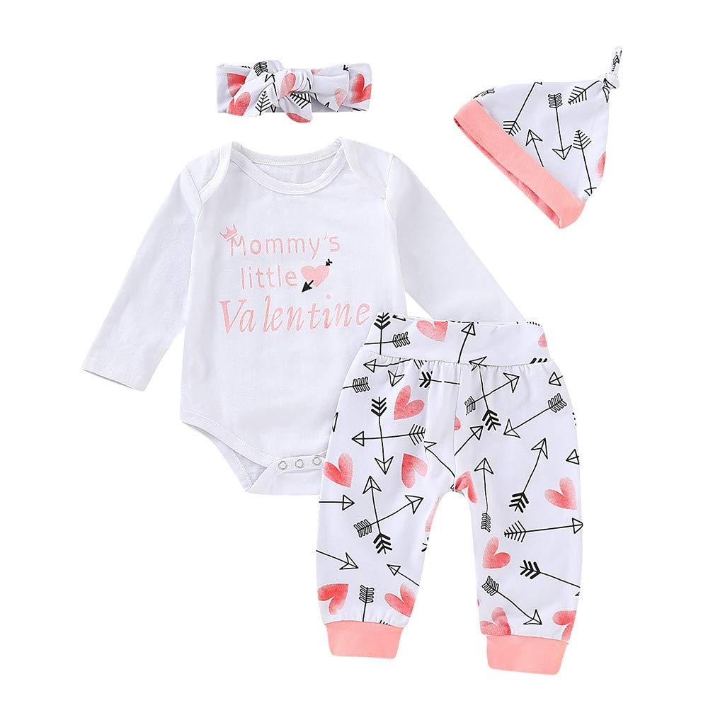 LIKESIDE 4PC Valentines Toddler Baby Letter Romper+Heart Print Pants+Hat+Headbands Set