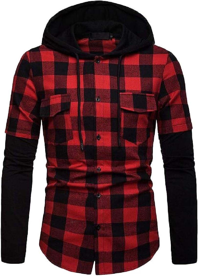 Sweatwater Mens Spliced Hooded Shirt Checkered Long Sleeve Plaid Shirt