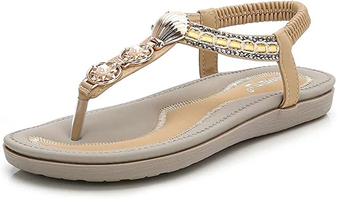 Mobnau Leather Jeweled Flip Flops Thong Beach Womens Sandals