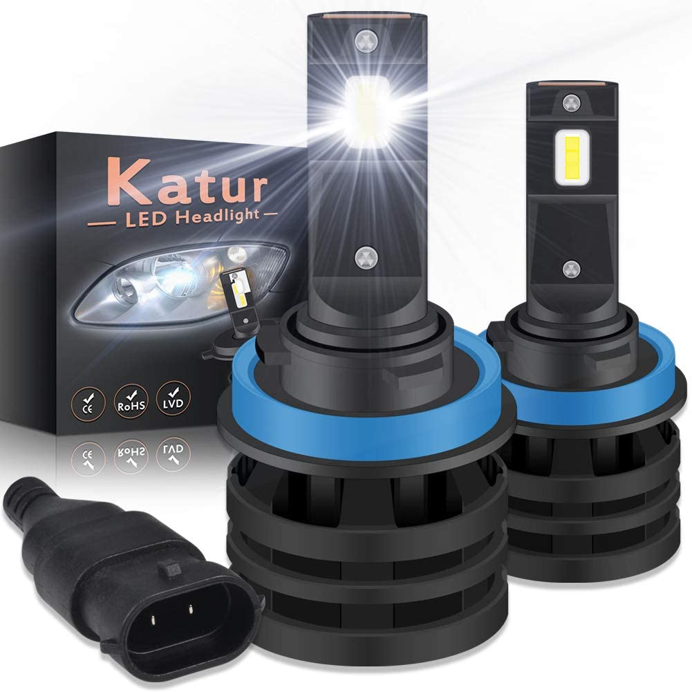KATUR 9005 HB3 Ampoules de Phare /à LEDs Mini Conception am/élior/ée de puces CREE 12000 lumens Kit de Conversion de Phare /étanche Tout-en-Un /à LED 55W 6500K Blanc