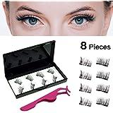 3D Dual Magnetic Eyelashes Natural Look No Glue Reusable Handmade False Eyelashes Set With Eyelash Tweezers