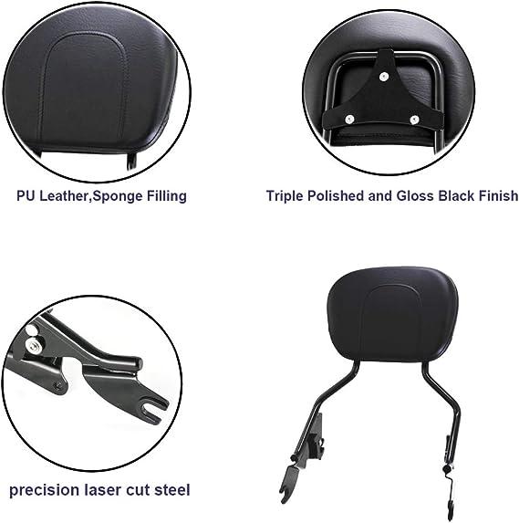 Gloss Black Passenger Backrest Sissy Bar Triple Polished Quick-Detach w//Pad & Stealth Luggage Rack For 2009-2020 Harley Touring FLH FLHX FLT FLHR FLTR