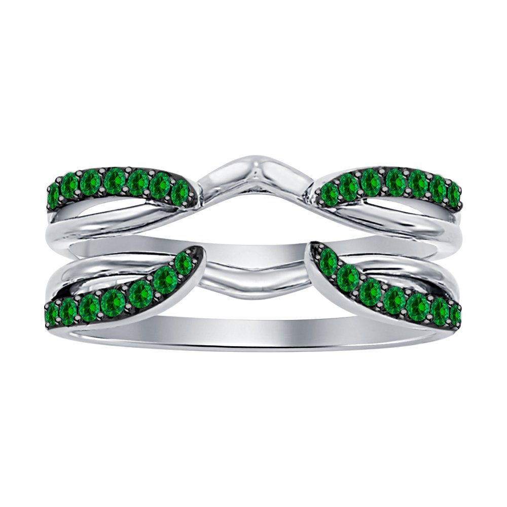 Dabangjewels 1/4 ct Green Emerald Enhancer Solitaire Engagement Ring 925 Sterling Silver Plated Guard Wrap Jacket