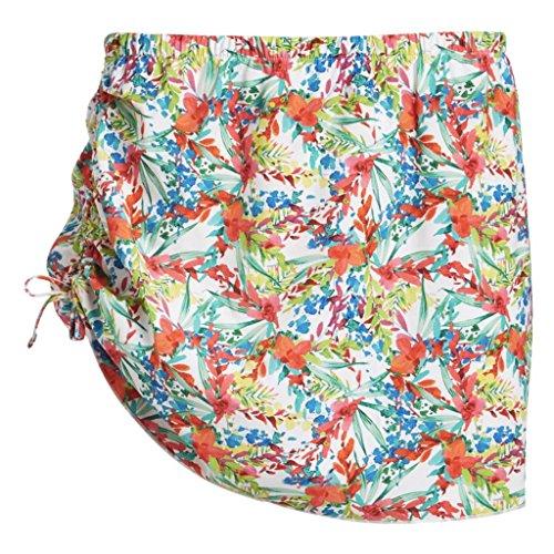 Zuma Blu Women's Side Cinch Skirt Cover Up, Tropical White, Small (Skirt Spandex Blu)