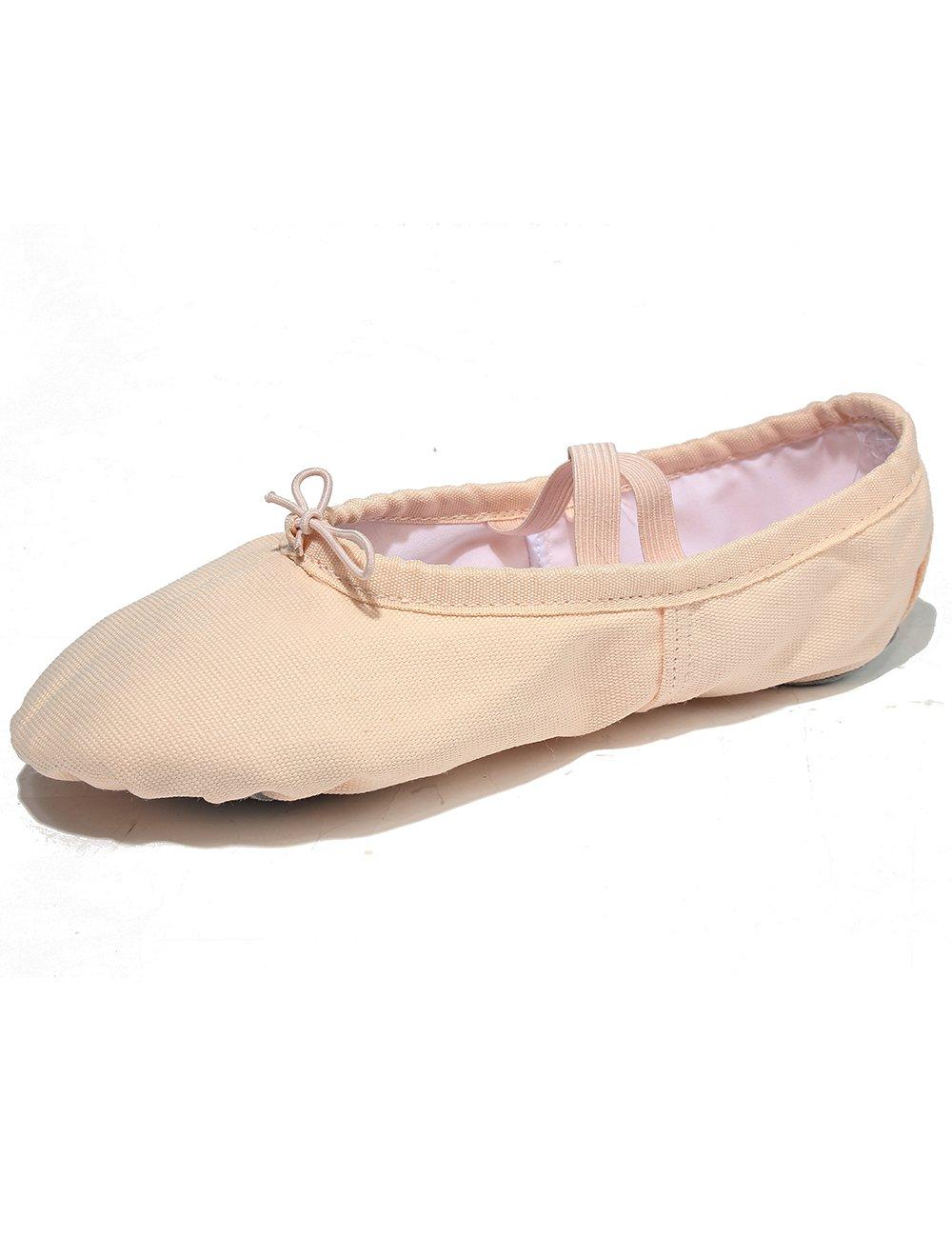 幼児の女の子と大人のクラシックバレエシューズスプリットソールダンススリッパフィットネス体操靴バレエクラスのヨガストレッチに適しています(キッズ英国8.5 = 175mm = 6.5インチ、ライトピンク)