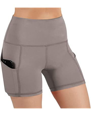 wholesale dealer 9aead ca04a ODODOS High Waist Out Pocket Yoga Short Tummy Control Workout Running  Athletic Non See-Through