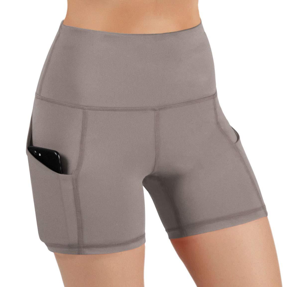 ODODOS High Waist Out Pocket Yoga Short Tummy Control Workout Running Athletic Non See-Through Yoga Shorts,DarkBeige,X-Small