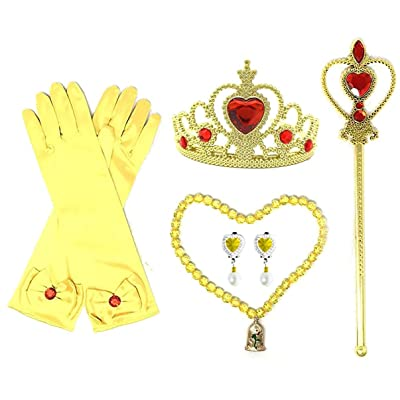 Princess Dress up Party 4-Piece Accessories Gift Set (Belle Yellow): Clothing