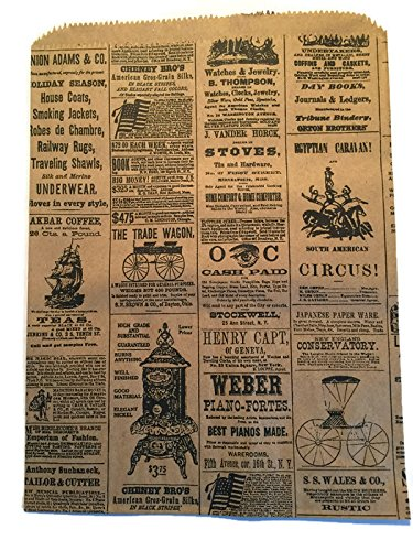 Vintage Newspaper - Set/50 Vintage Newspaper Print Flat Paper Gift Bags, 8 1/2 x 11