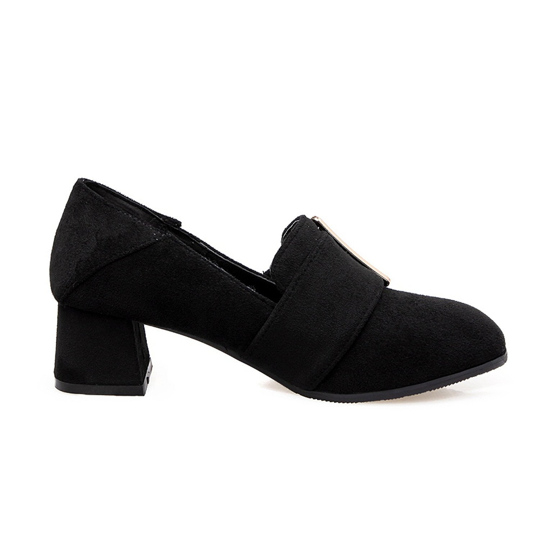 Kenavinca Woman Pumps Flock Work Shoes Big Size 34-48 Solid Popular Contracted Four Seasons Shoes B074PPZ2K1 8 B(M) US|Black
