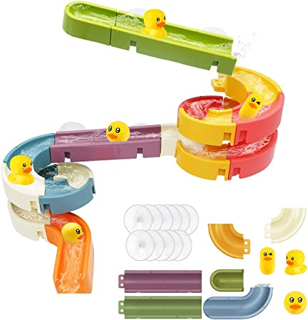 Kids Bath Toys Assemble Set 24PCS DIY Wall Suction Water Slide Bathtub Toys for Toddlers Boys and Girls 3-6 Years Old