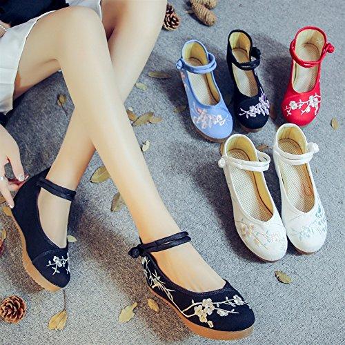 Style Sk Femme En Chinois Flâneur Pantoufles Yr32 Pour Noir Studio Mocassin Toile 87rS8q