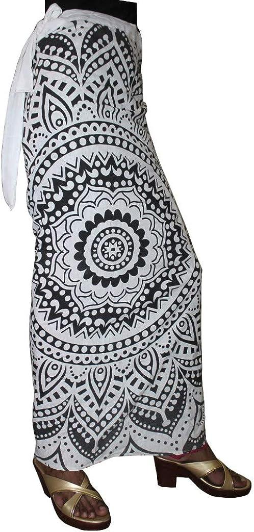 Lakkar Haveli Womens Mandala Print Wrapron Skirt Hippie Ethnic Beach Wear Casual Baggie Gypsy Plus Size