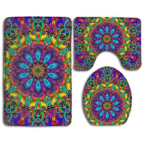 YU TING COOL Trippy Mandala Non-Slip 3-Piece Bathroom Mat Set Bath Mat + Contour Rug + Toilet Lid Cover Washable Rubber Backing