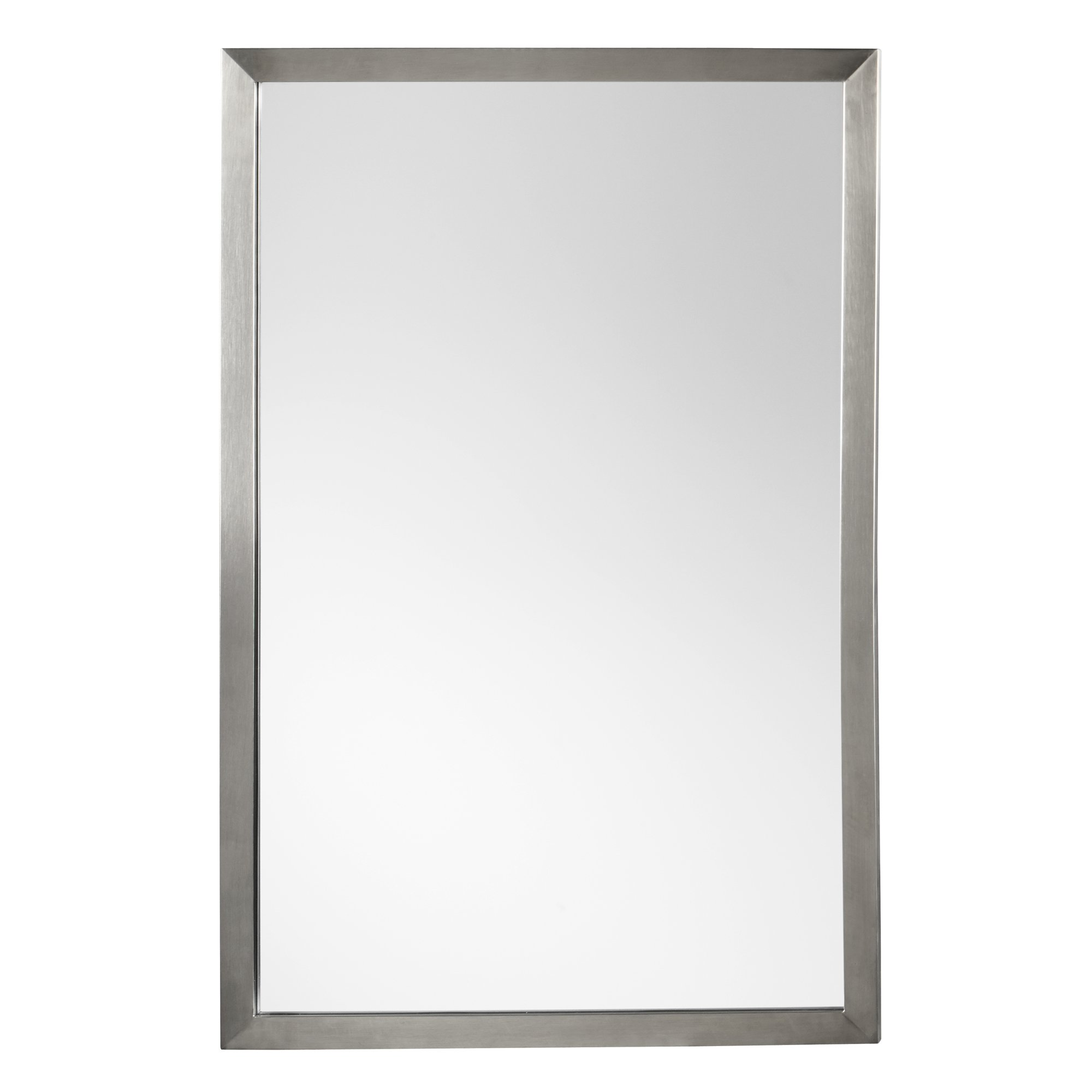RONBOW Emile 22'' x 32'' Contemporary Metal Frame Wall Decor Bathroom Mirror in Brushed Nickel Finish 603423-BN