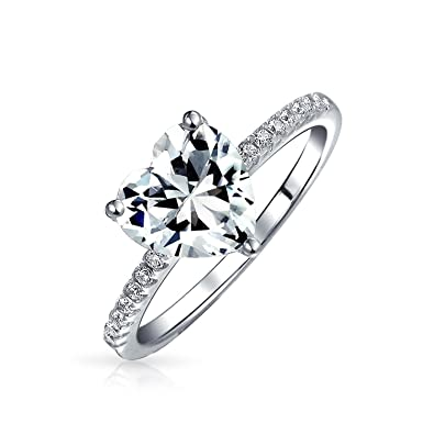 0015bc93b8788 2.5CT Heart Shape Solitaire AAA CZ Engagement Ring For Women Thin Band  Cubic Zirconia 925 Sterling Silver Promise Ring
